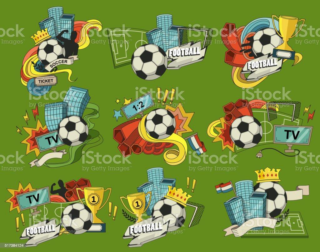 Football sports elements vector art illustration