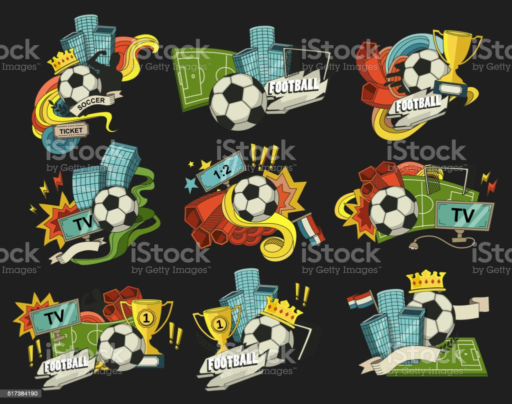 Football sports elements vector art illustration