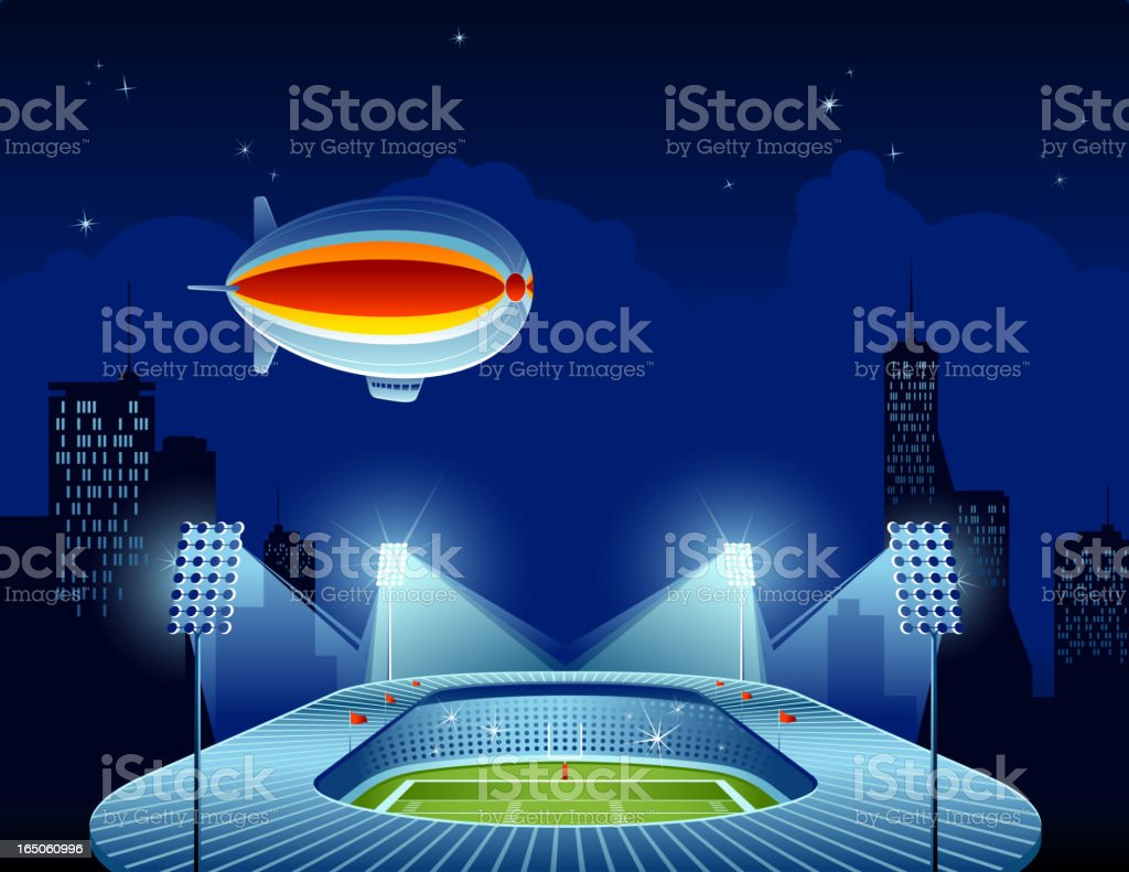 Football stadium at night royalty-free stock vector art