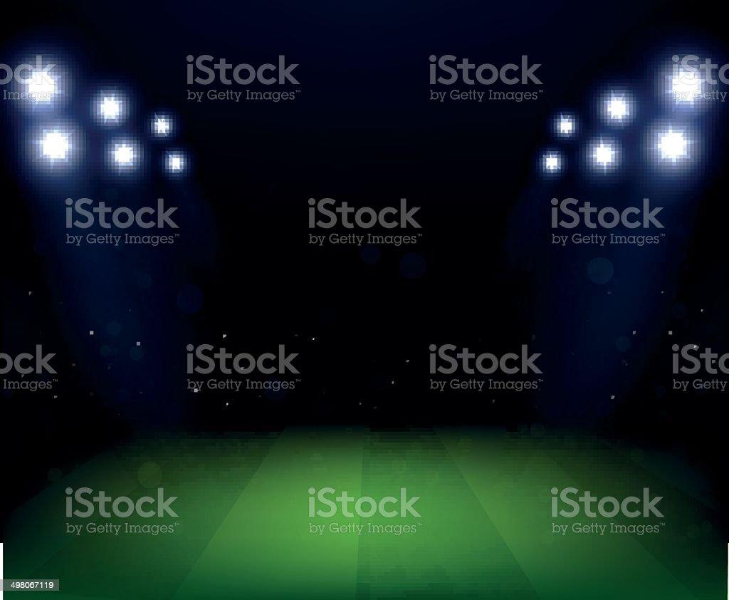 Football Stadium at night with spotlight vector art illustration
