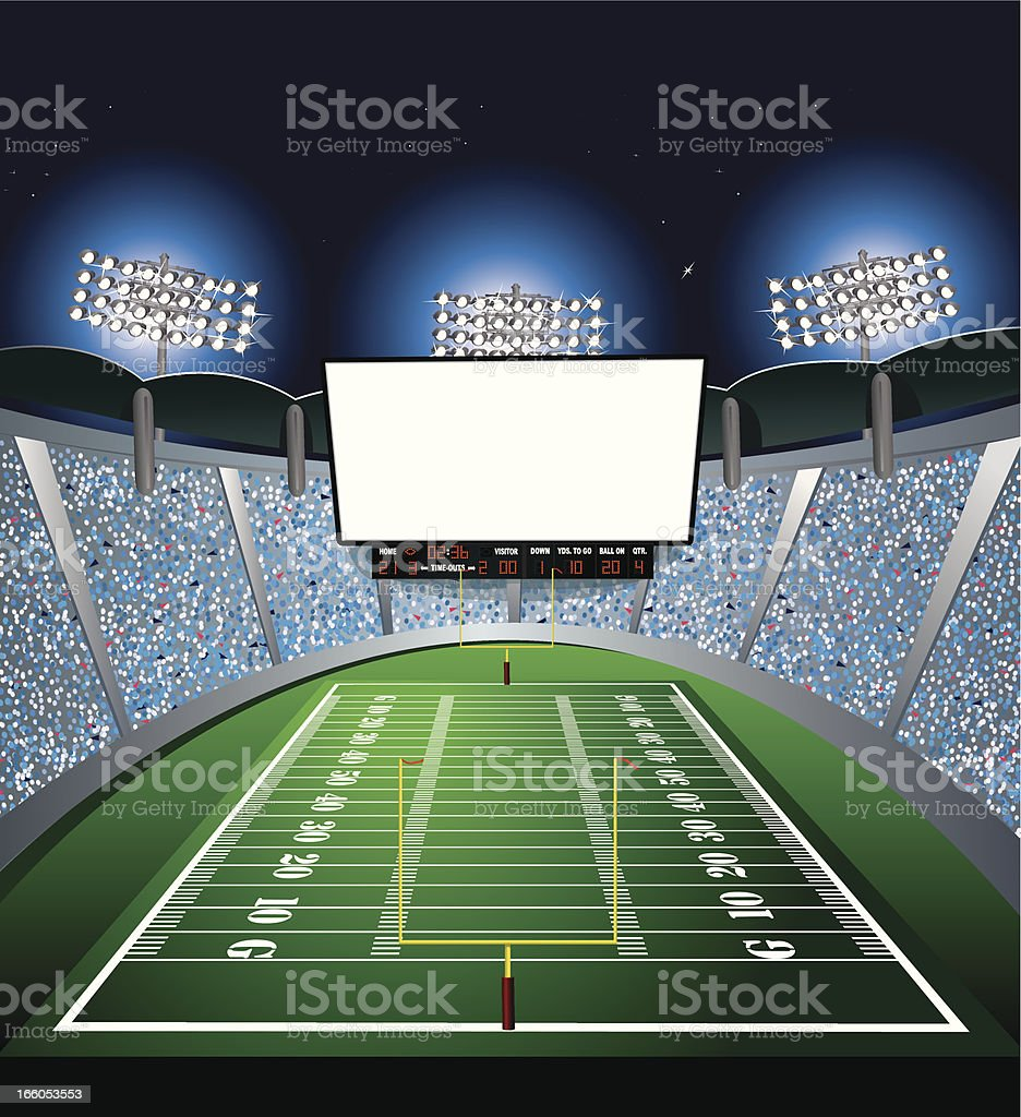 Football Stadium - Jumbotron, Large Scale Screen vector art illustration