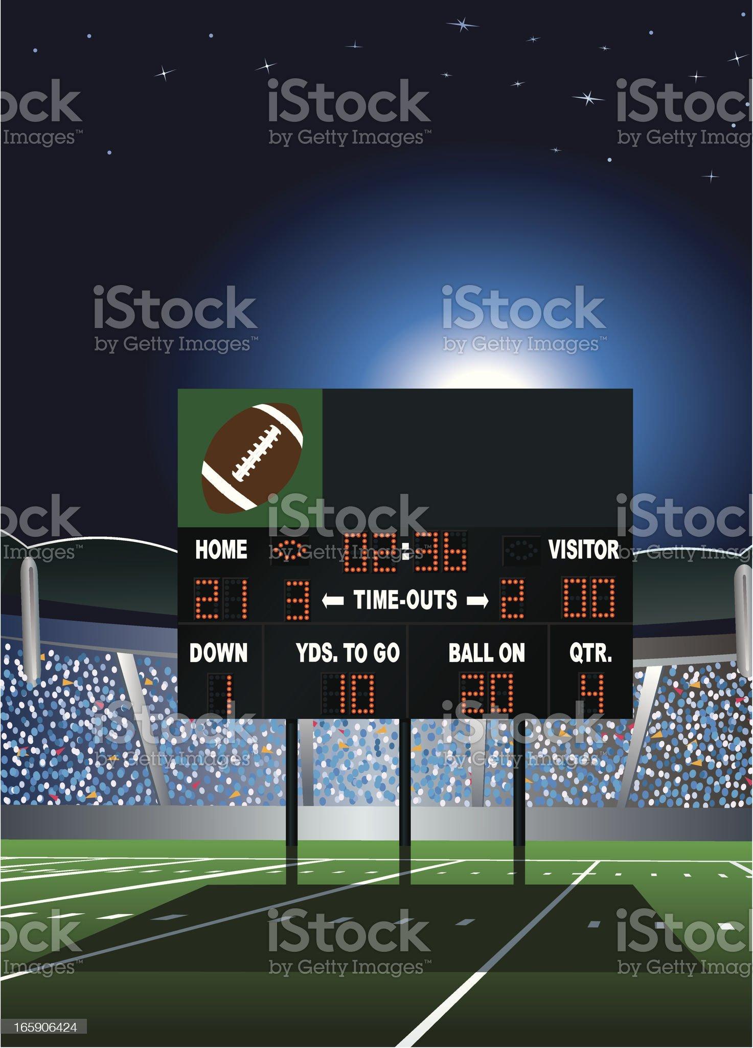 Football Stadium Scoreboard royalty-free stock vector art
