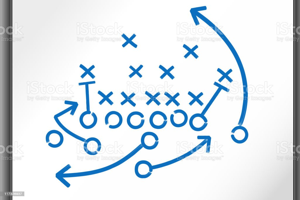 Football Strategy Game plan on whiteboard vector art illustration