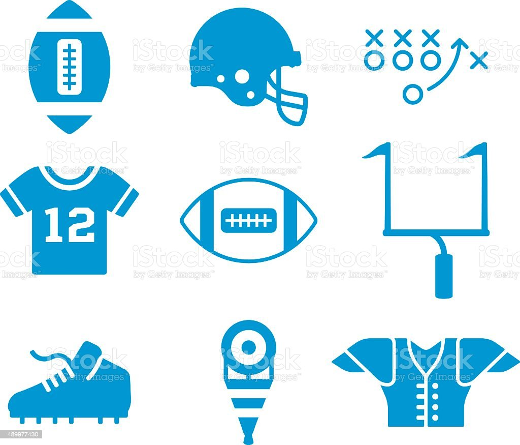 Football Symbols and Icons vector art illustration