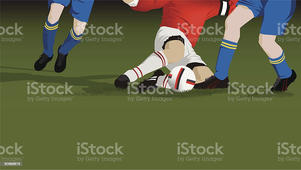 Fußball tackle Nahaufnahme Lizenzfreies vektor illustration