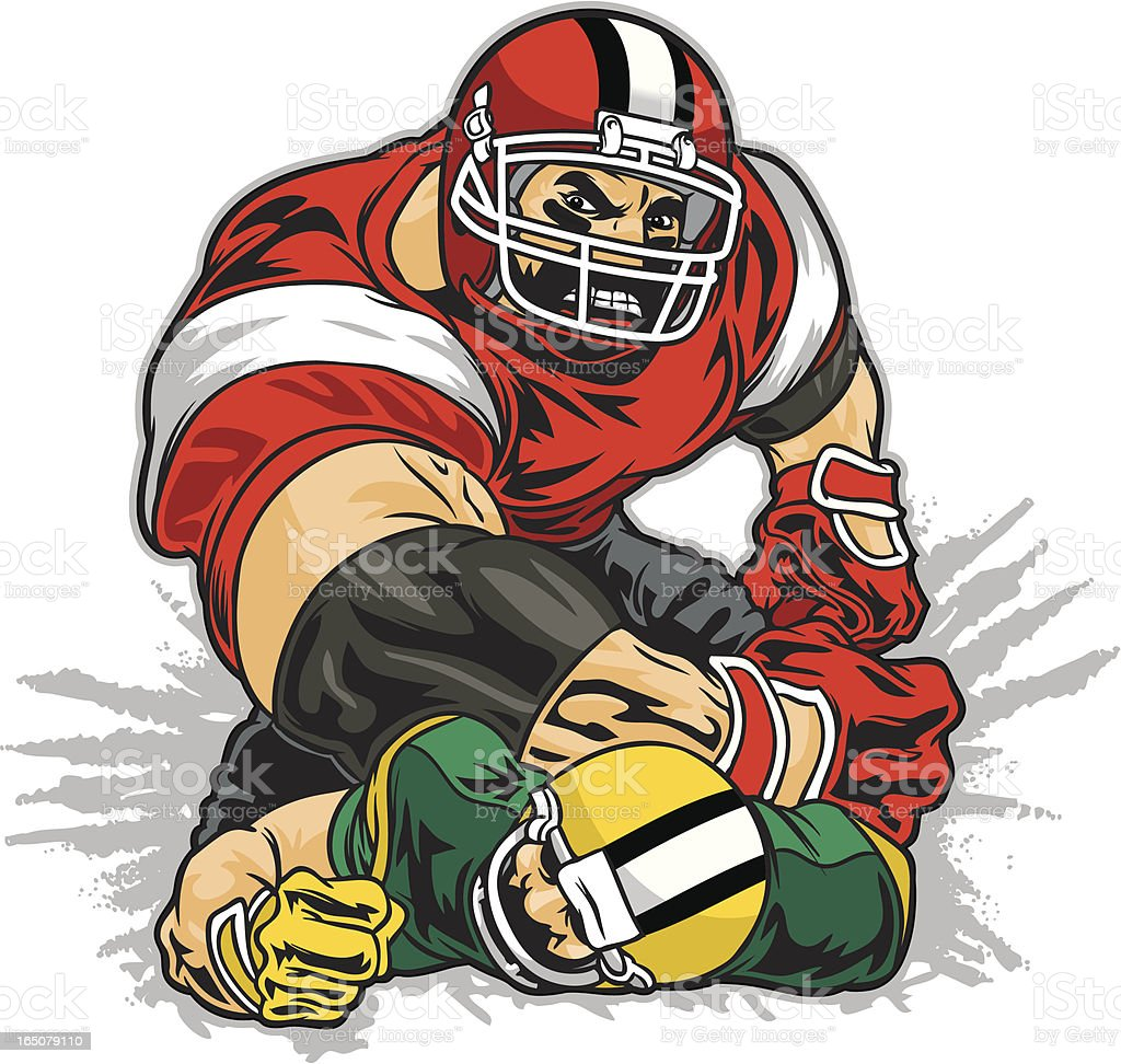 Football tackle vector art illustration