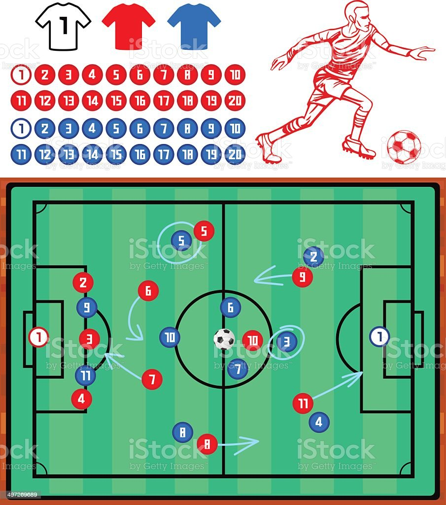 Football Tactics Board Set royalty-free stock vector art