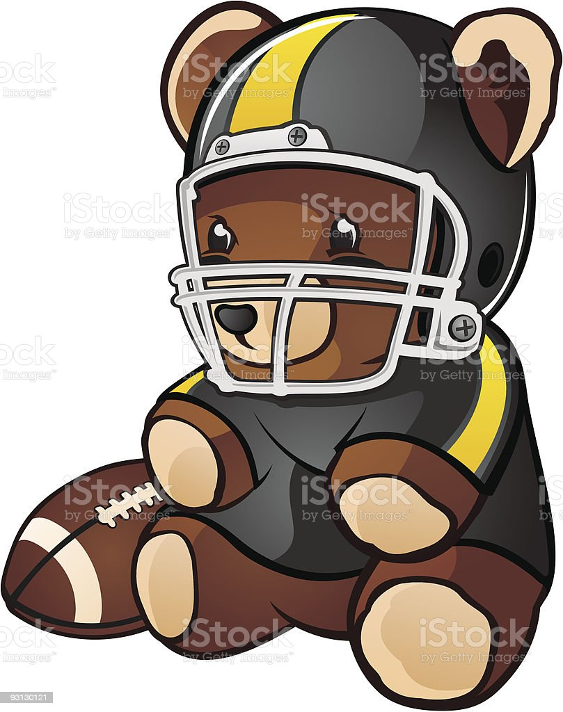 Football Teddy Bear vector art illustration