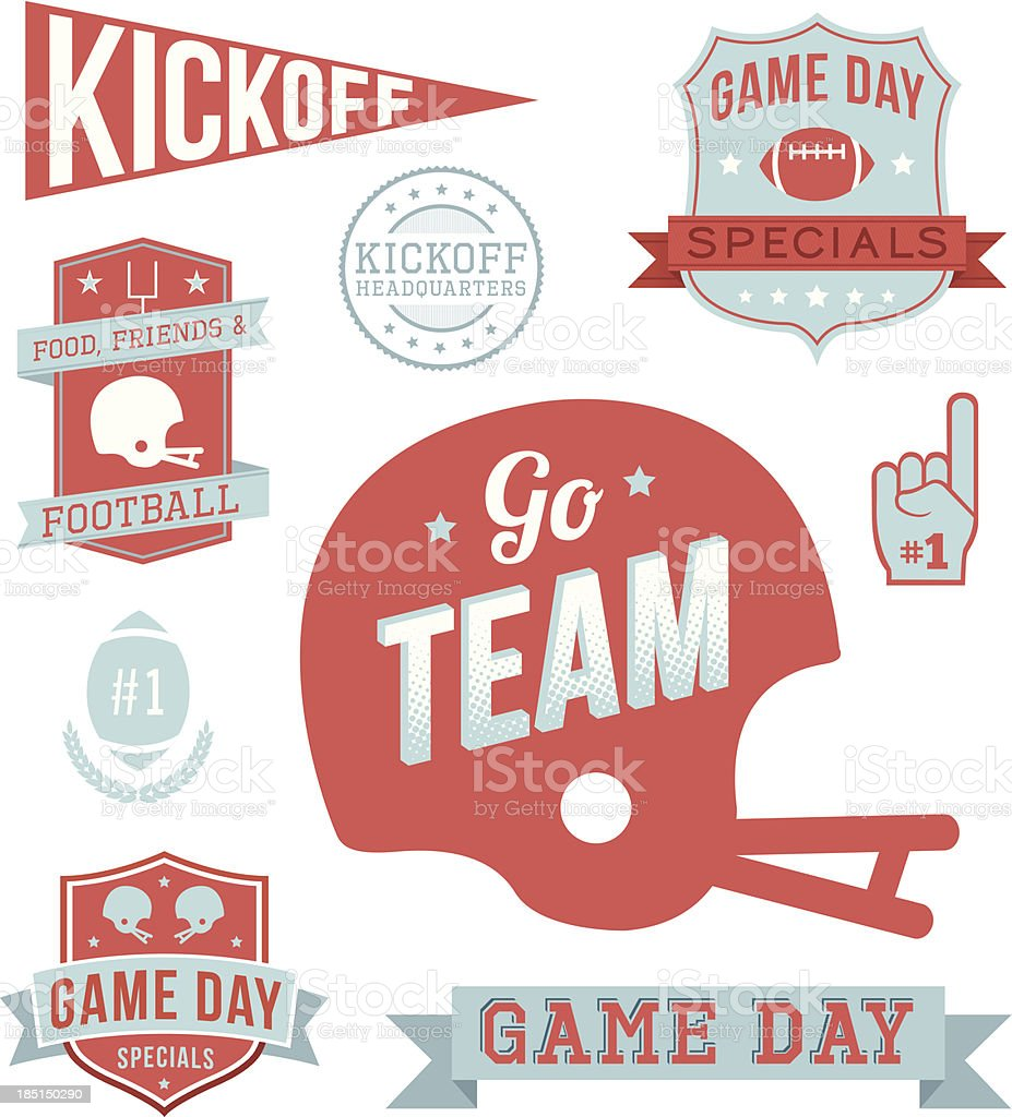 Football Text Banners vector art illustration