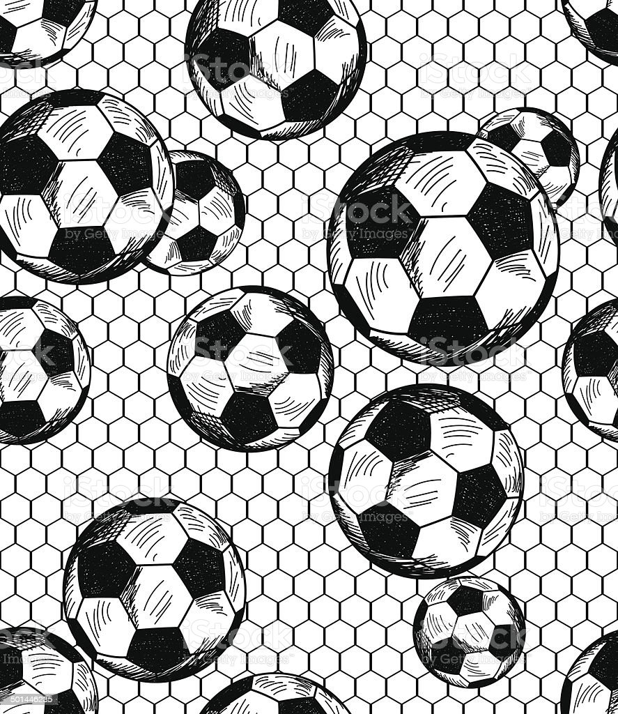 Football (soccer) theme seamless pattern vector art illustration