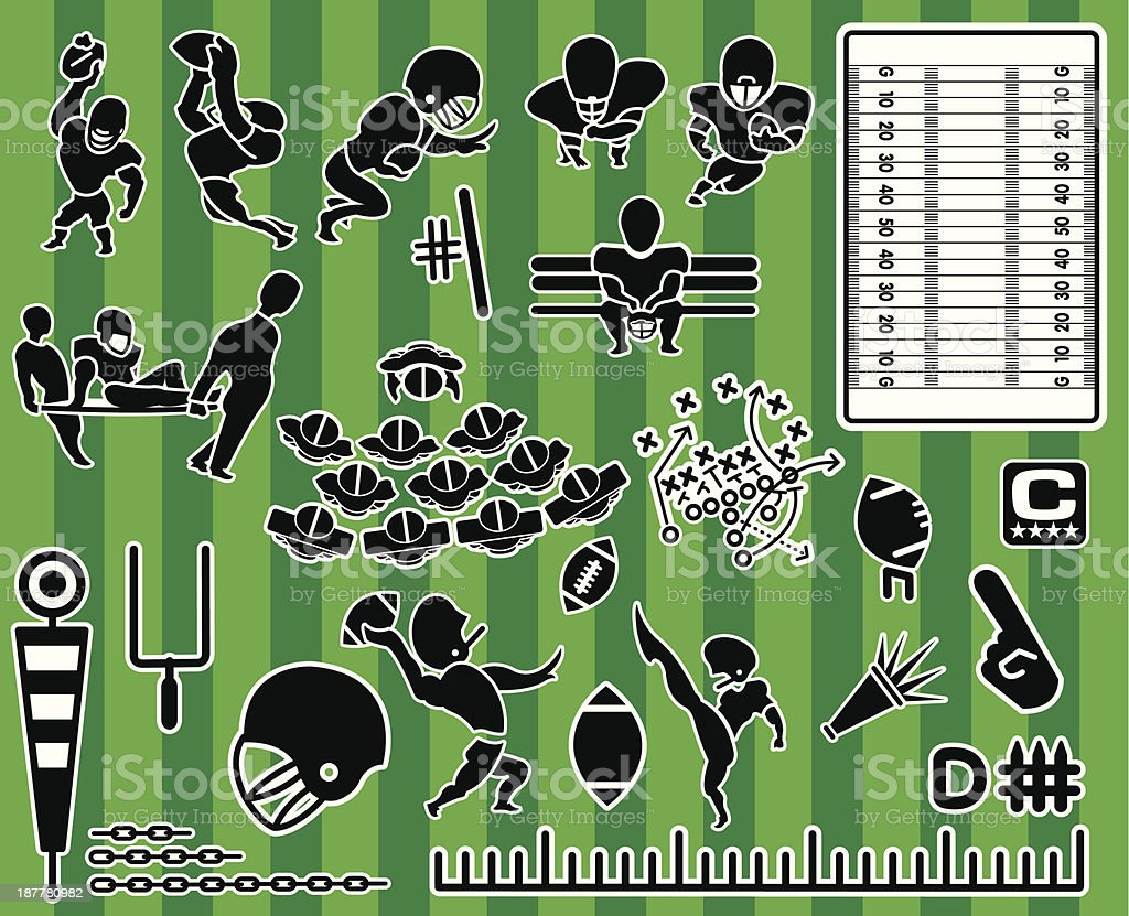Football Themed Icon Collection Set royalty-free stock vector art