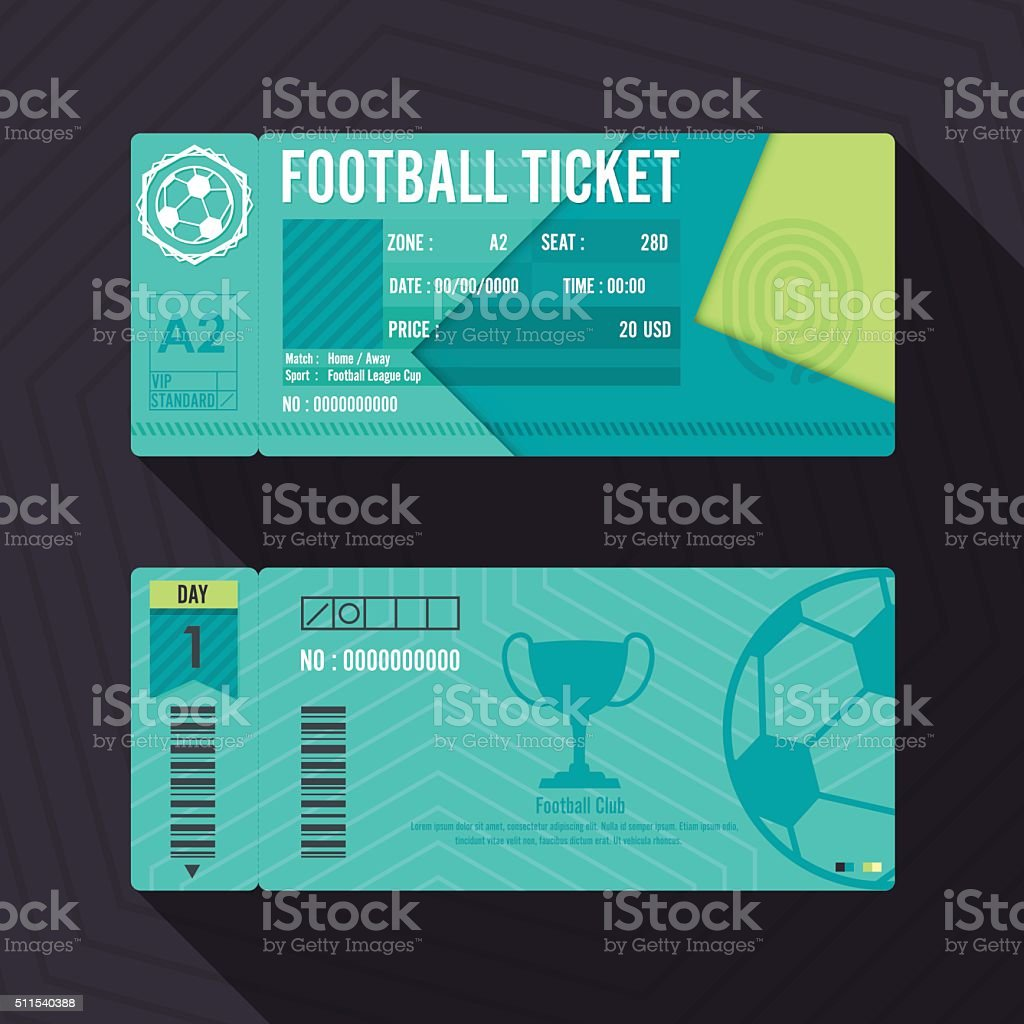 Football Ticket Material Design. Vector illustration. vector art illustration