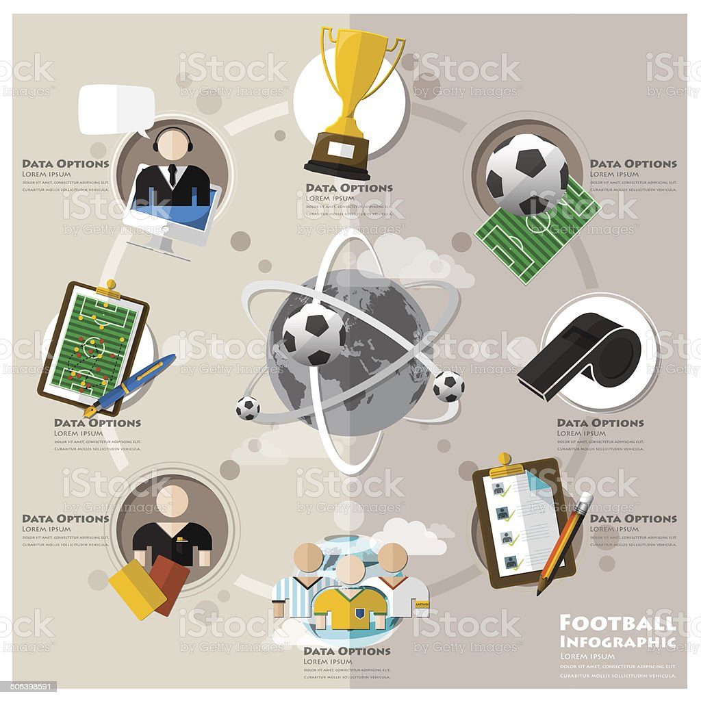 Football Tournament And Sport Flat Icon Infographic vector art illustration