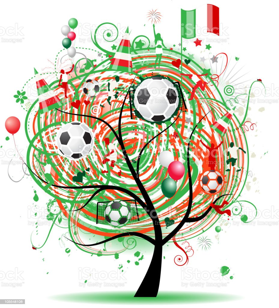 Football tree design, Mexican flag royalty-free stock vector art