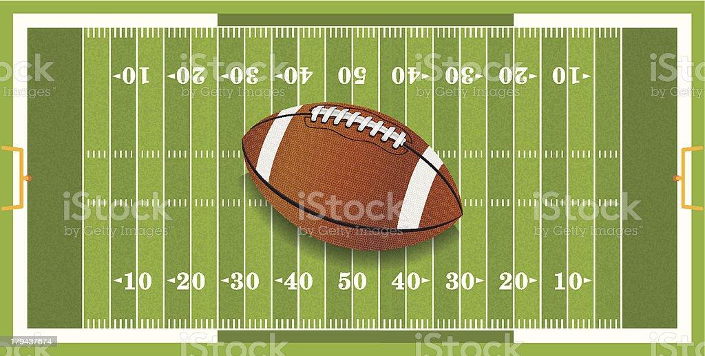 Football vector on a green football field vector art illustration