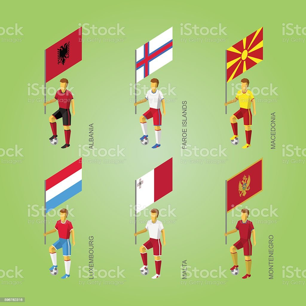 Footballers with flags: Macedonia, Montenegro, Albania, Luxembourg, Malta, Faroe Islands vector art illustration