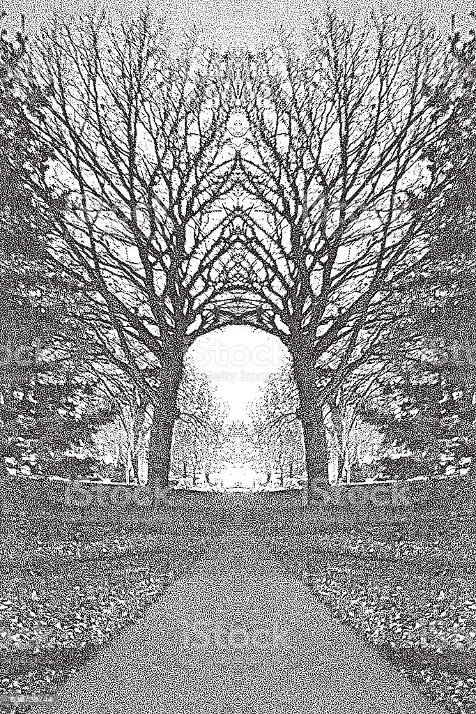 Footpath In A Metro Park with Arched Trees vector art illustration