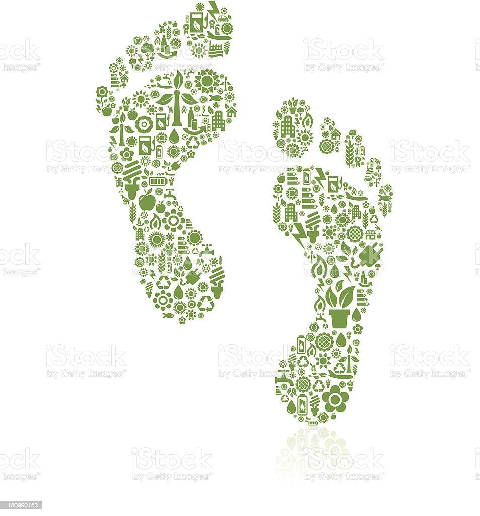 Footprint ecology icons vector art illustration
