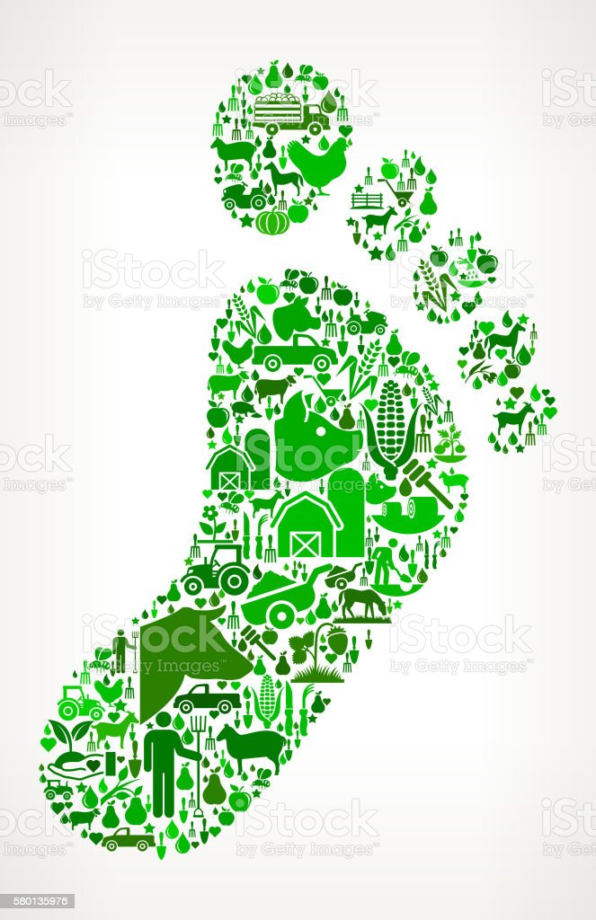 Footprint Farming and Agriculture Green Icon Pattern vector art illustration