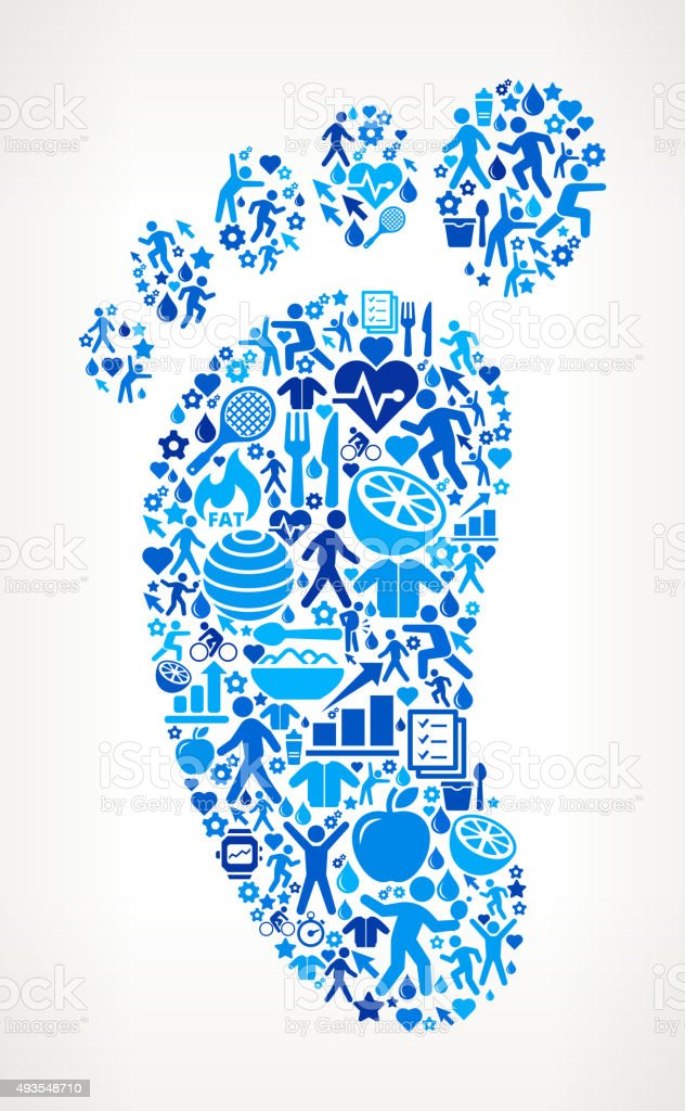 Footprint Fitness and Diet Vector Button Pattern vector art illustration