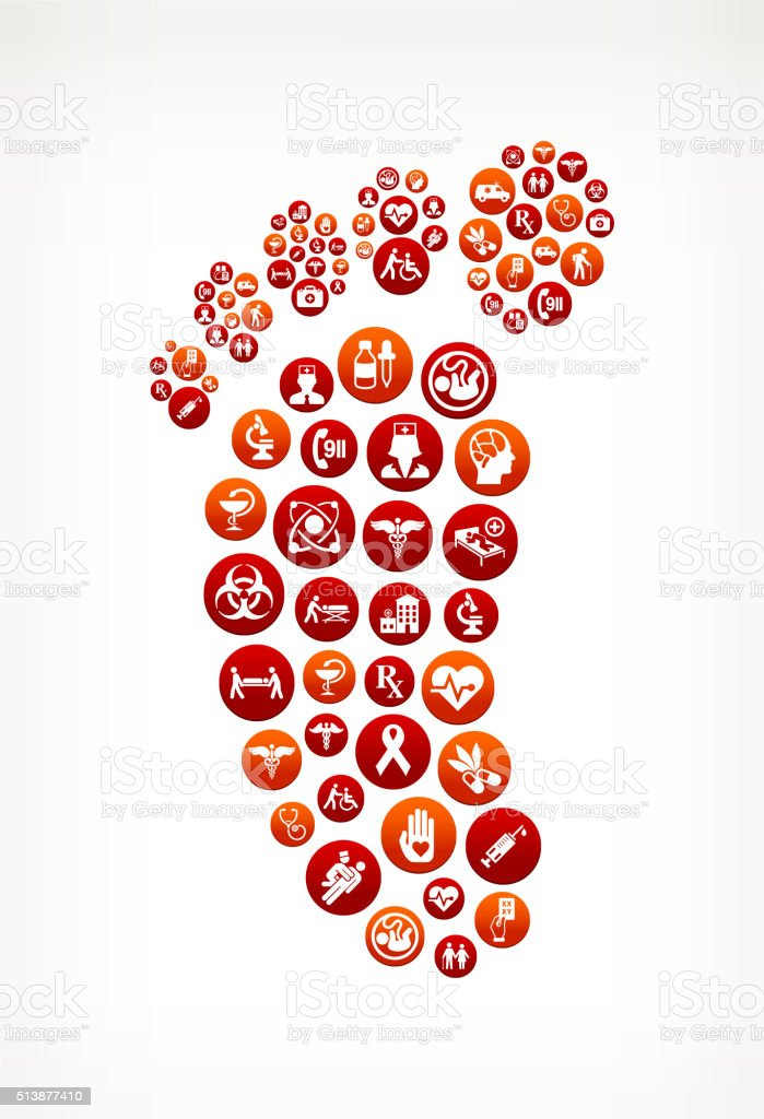 Footprint Healthcare and Medical Red Button Pattern vector art illustration
