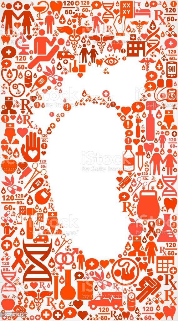 footprint Healthcare and Medicine Seamless Icon Pattern vector art illustration
