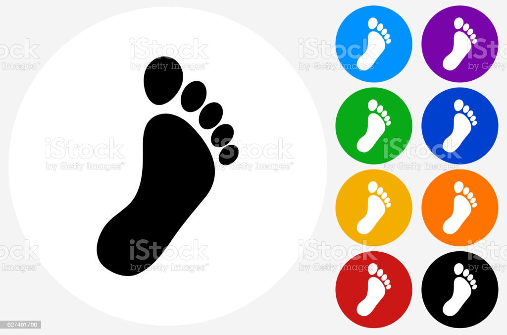 Footprint Icon on Flat Color Circle Buttons vector art illustration
