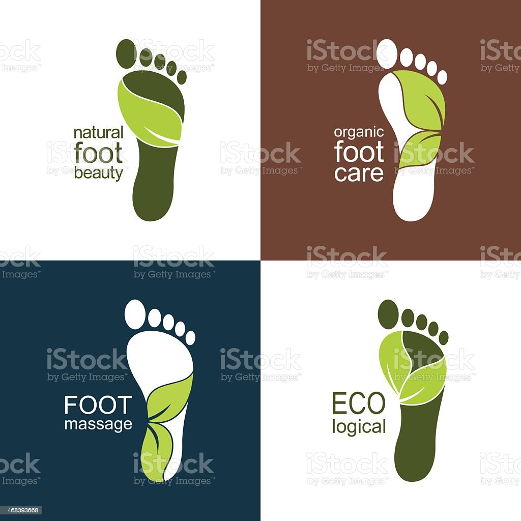Footprint icons and emblems with leaves vector art illustration