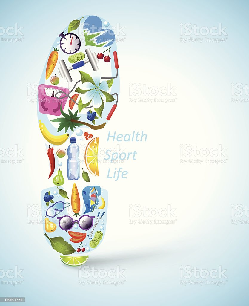 Footprint made of healthy lifestyle elements vector art illustration