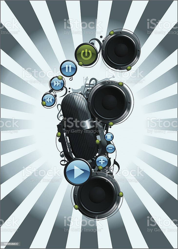 Footprint made of Speakers, Microphone and various Music Elements vector art illustration
