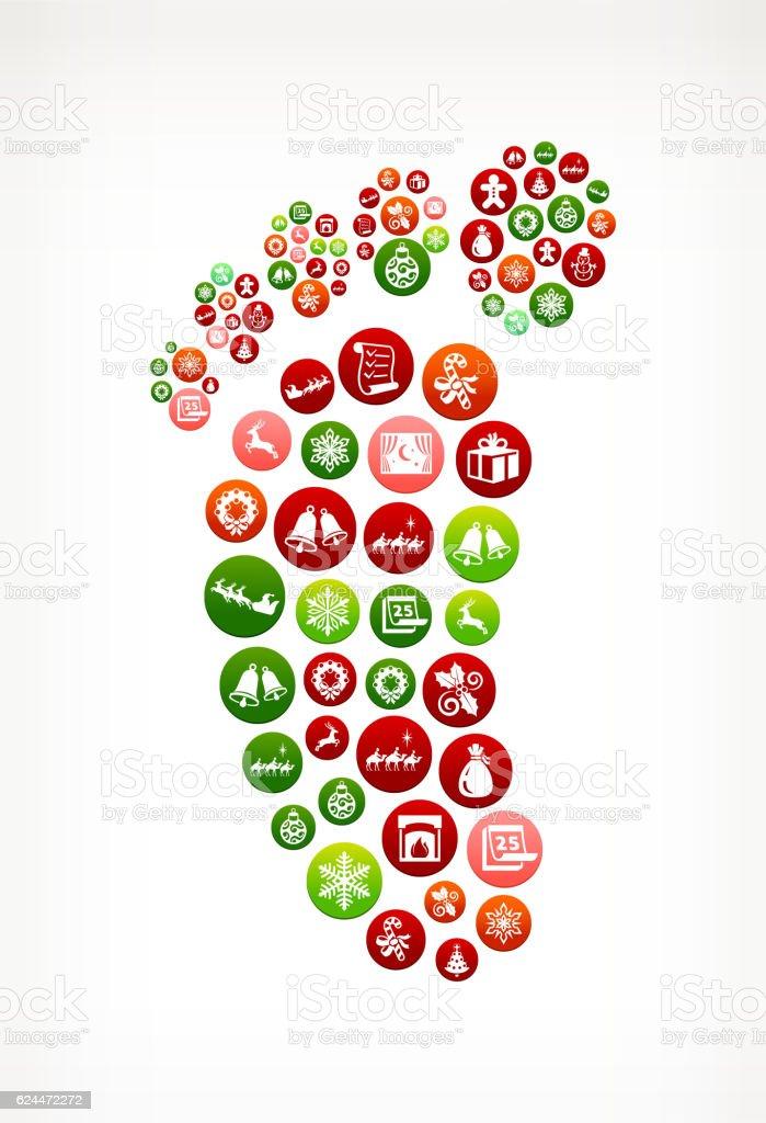Footprint Seasonal Christmas Holiday Graphic Pattern. vector art illustration