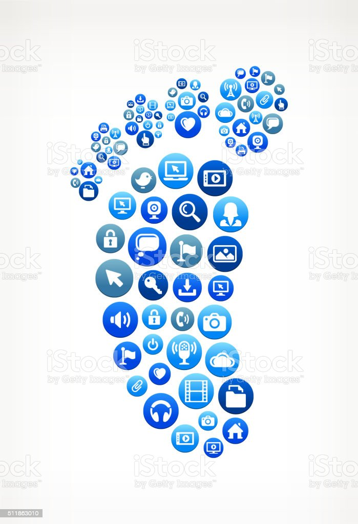 Footprint Technology Internet and Media Blue Button Pattern vector art illustration