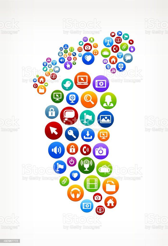 Footprint Technology Internet and Web Media Icon Pattern vector art illustration