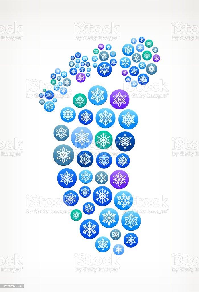 Footprint Winter Seasonal Snowflake Graphic Pattern. vector art illustration
