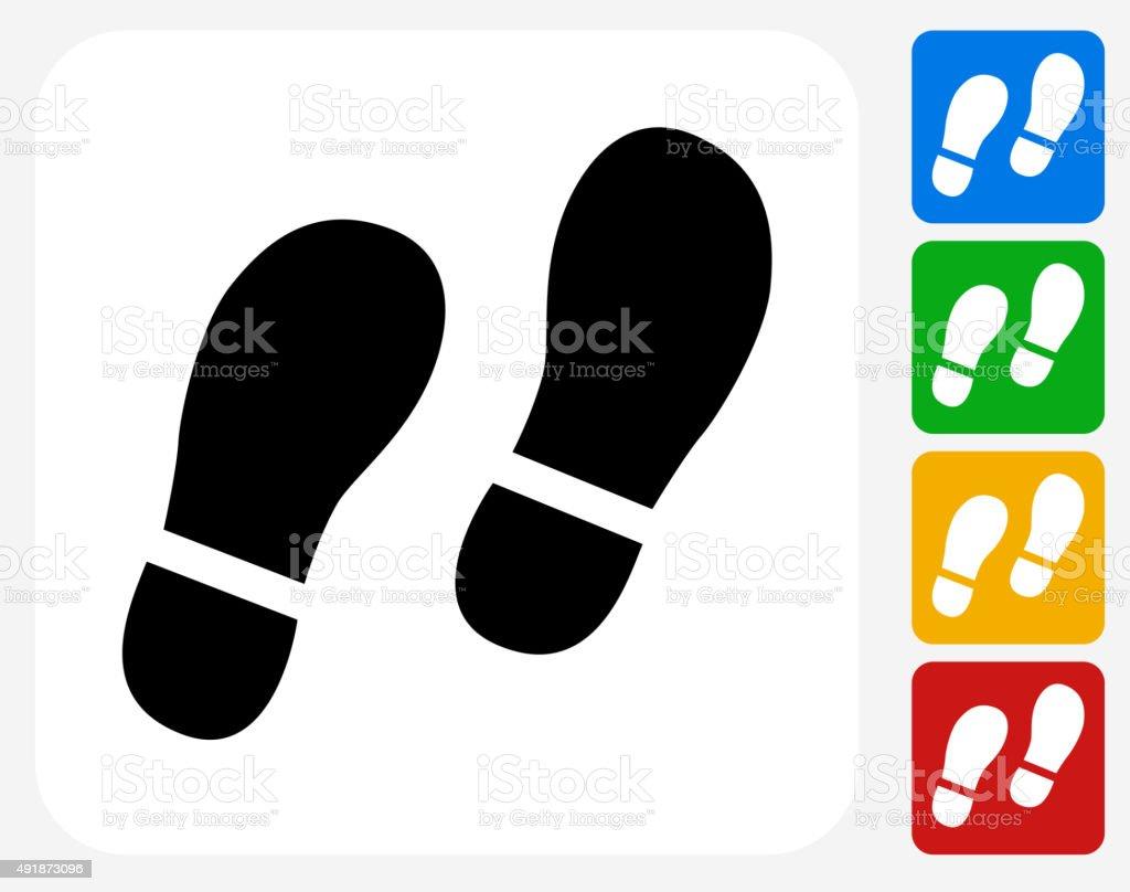 Footprints Icon Flat Graphic Design vector art illustration