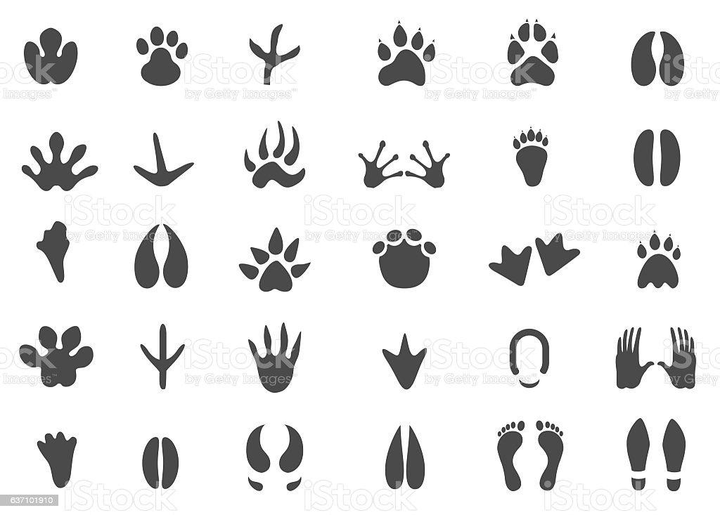 Footprints icon set vector art illustration