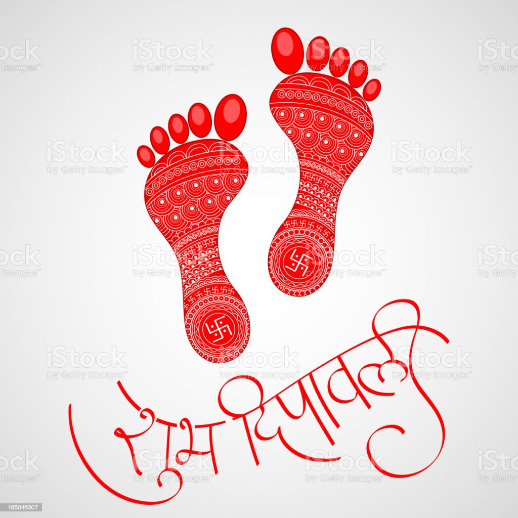 Footprints of Goddess Lakshami on Diwali vector art illustration