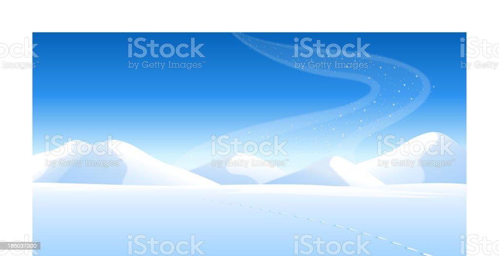 Footprints on the snowcapped landscape and Aurora Borealis in sky royalty-free stock vector art