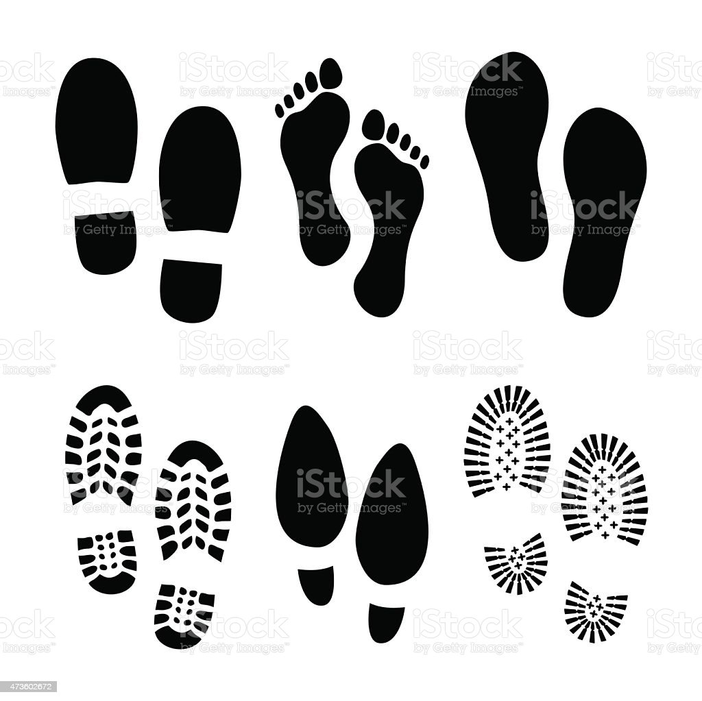 Footprints, shoes vector art illustration