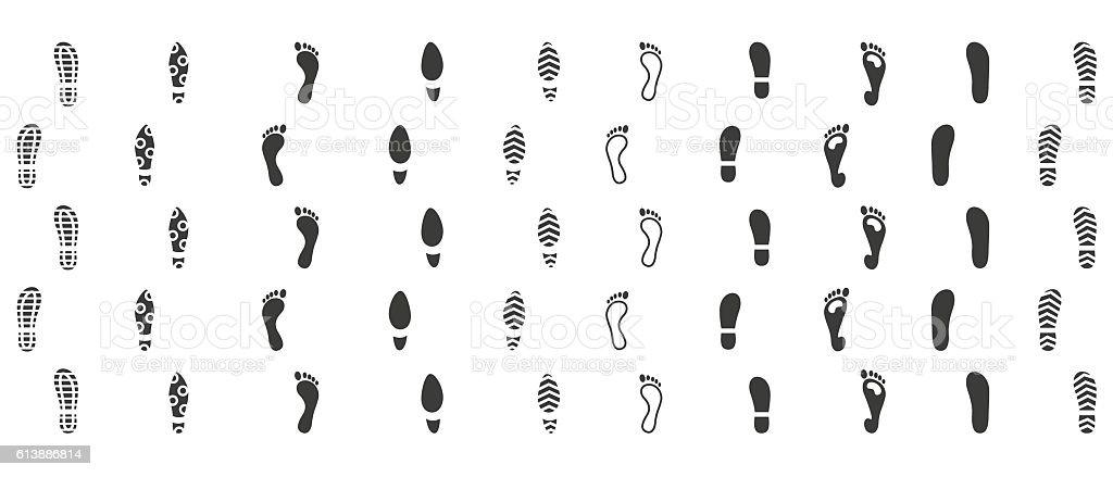 Footsteps icon set vector art illustration