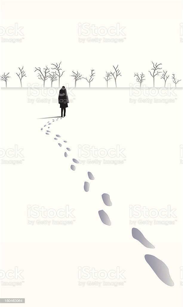 Footsteps in the snow behind a person walking towards trees royalty-free stock vector art