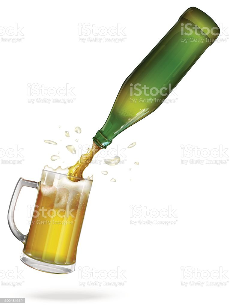 Pour beer. vector art illustration