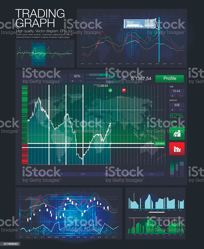 HUD UI for business app. Futuristic user interface vector art illustration