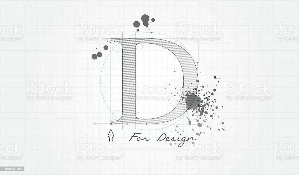 D for Design vector art illustration