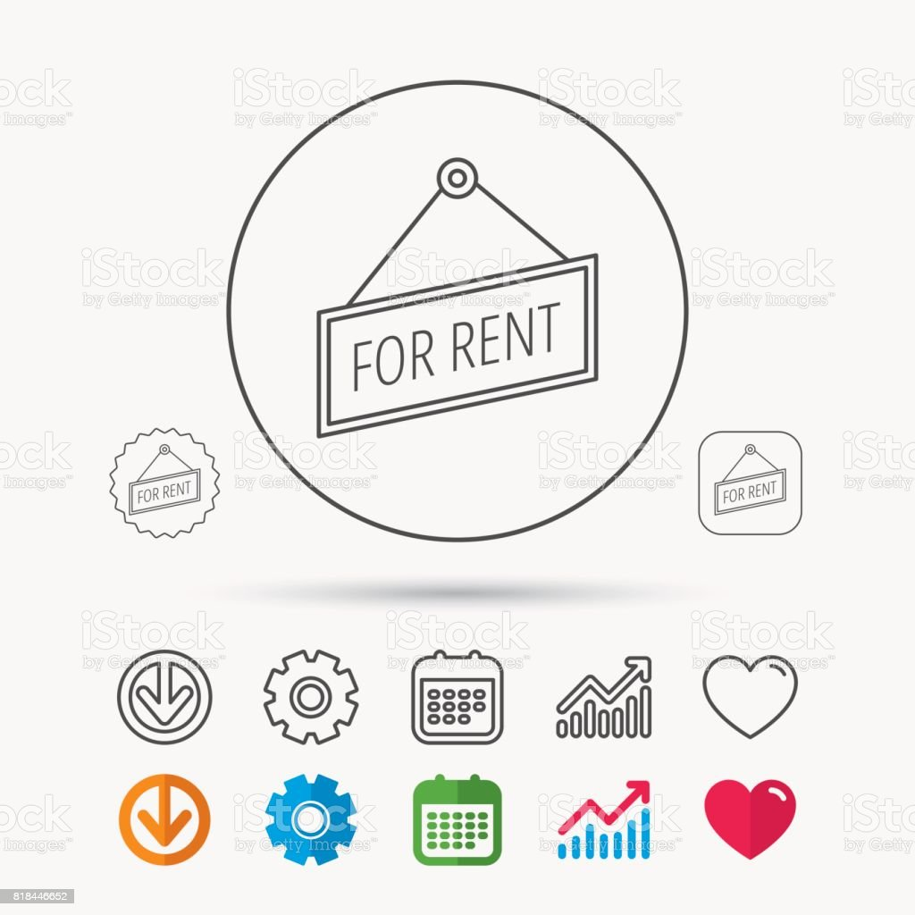 For rent icon. Advertising banner tag sign. vector art illustration