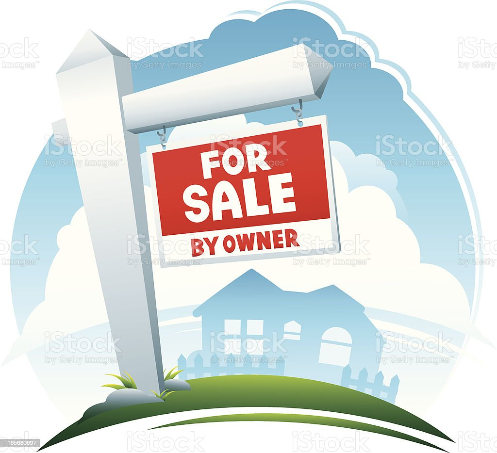 For Sale by Owner Real Estate Sign royalty-free stock vector art