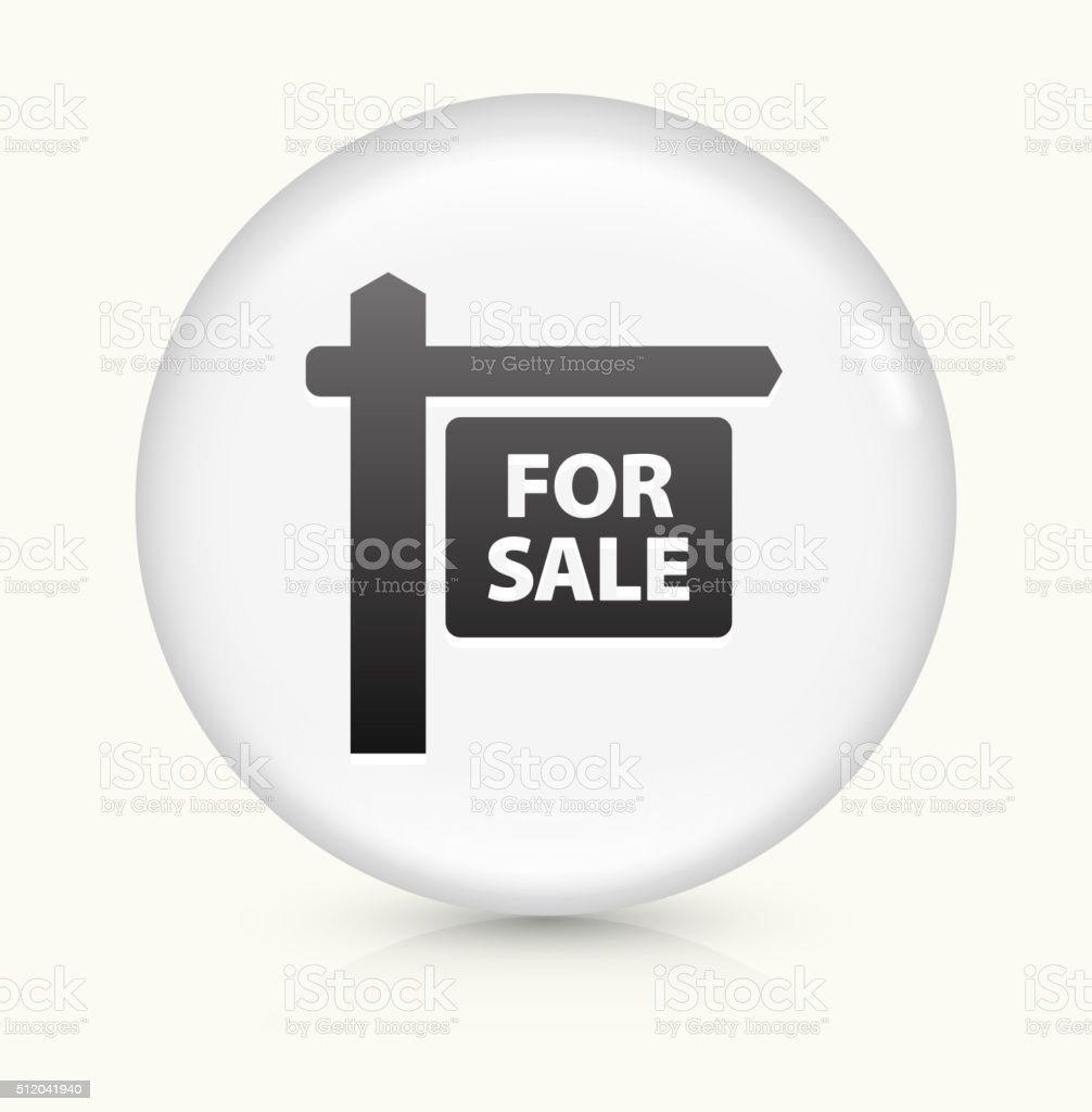 For Sale Sign icon on white round vector button vector art illustration