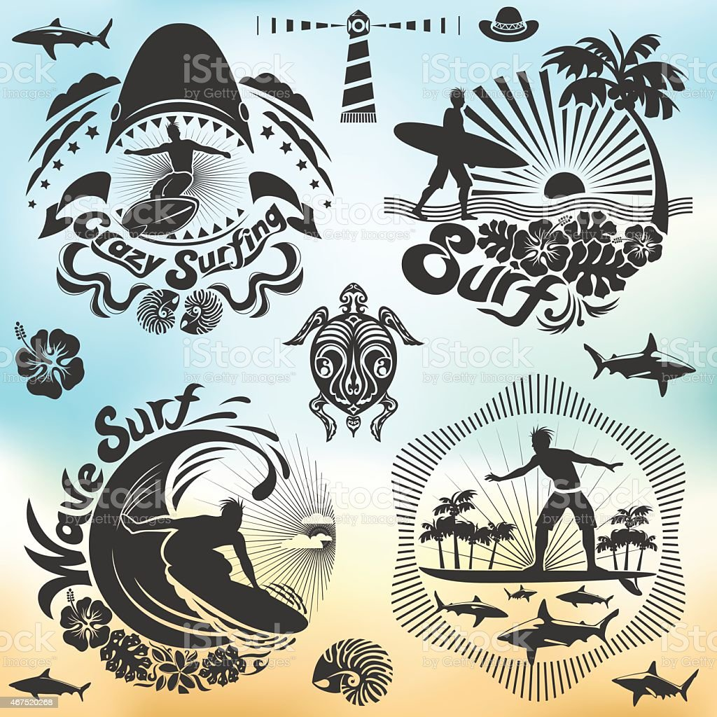 For Surfer and surf holidays vector art illustration