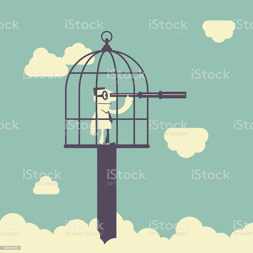 Forbidden and freedom, Businessman with telescope inside of large birdcage vector art illustration