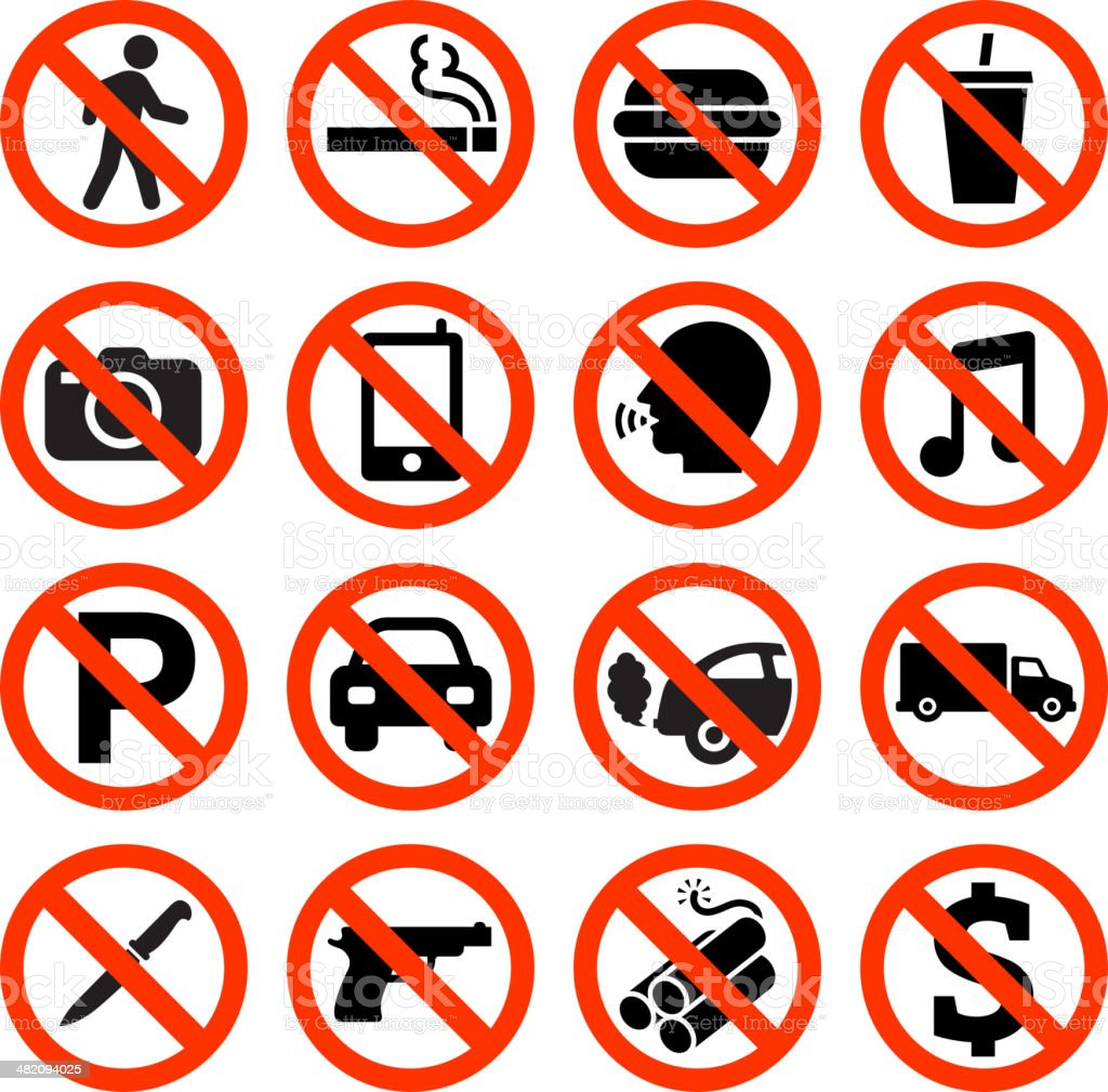 Forbidden Sign not allowed no smoking and eating royalty-free stock vector art